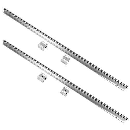 Linearführung, 2 Stk. SBR16-1000mm Linear Gleitführung Gleitschiene + 4 Stk. SBR16UU Slide Block Linearschlittenblock mit vorgebohrten Löchern, rostfrei und langlebig