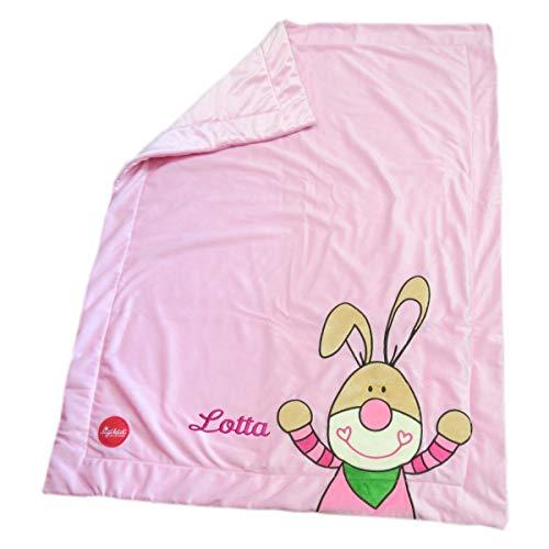 Sigikid Plüsch-Babydecke mit Namen bestickt Bungee Bunny 100 cm x 75 cm rosa Krabbeldecke als Namensdecke personalisiert 41558mn