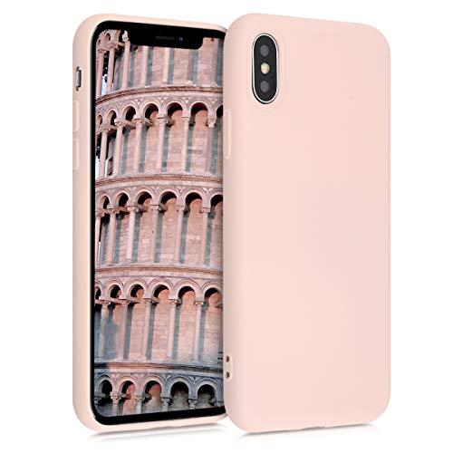 kwmobile Cover Compatibile con Apple iPhone X - Custodia in Silicone Effetto Gommato - Back Case Protezione Cellulare - Rosa Antico