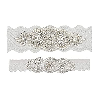 yanstar Wedding Bridal Garter Off-White Stretch Lace Bridal Garter Sets with Silver Rhinestones Clear Crystal Pearl for Wedding