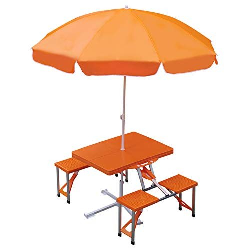 Mesa plegable y silla de aleación de aluminio, mesa de picnic portátil, mesa de camping estilo maleta, mesa de comedor con balcón, mesa de trabajo para manualidades / arte / juegos para niños
