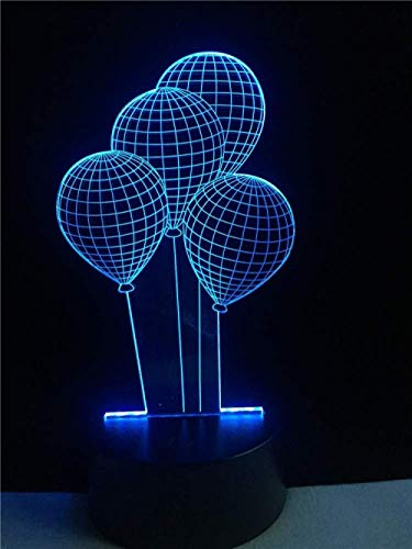 3D Night Light Illusion Lamp Lamp Romantic Outer Space Colorful Balloons Fashion Touch Dimmer Party Decor