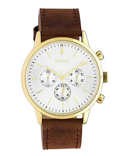 Oozoo C10597 - Reloj de pulsera unisex con correa de piel (40 mm), color dorado y marrón