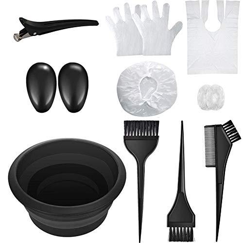 elloLife[13 Pcs Kit ]Accesorios de Pelo Tinte, Professional Kit de Coloración con Pelo Tazón de Cepillo de Coloración Peine Guante Cubre Orejas Pinzas