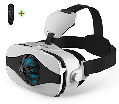 """VR Headset Compatible for iPhone and Android Phone ,3D Virtual Reality VR Glasses With blue light, fan Viewer for TV,Movies & Video Games IMAX, Support 4.0-6.3""""Large Screen Smartphone."""