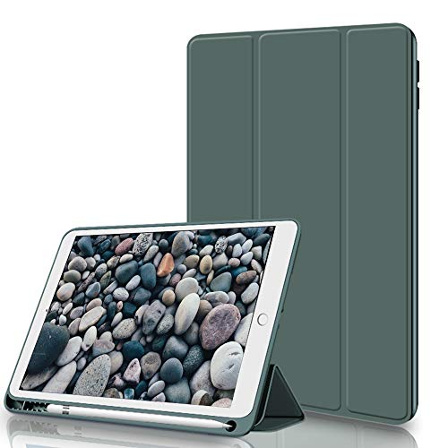 Aoub Case for iPad Air3 10.5 Inch 2019,with Pencil Holder, Lightweight Slim Protective Case,Soft TPU Back Cover with Auto Wake/Sleep,Tri-fold Stand,for 2019 ipad Air 10.5 case (Dark Green)
