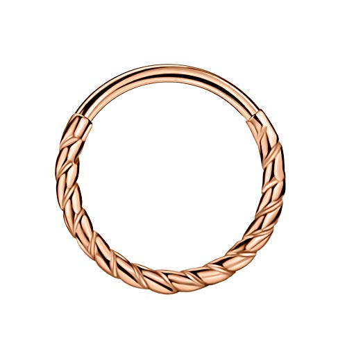 FANSING 316L Surgical Steel Piercing Rings for Cartilage Helix Rook Tragus Ear Lobe 18 Gauge Twisted Clicker Silver/Gold/Rose Gold 6mm/8mm/10mm