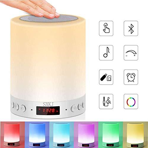Luces nocturnas Altavoz Bluetooth, Lámpara de Mesita de Noche,Lámpara LED de control táctil Regulable Luces cálidas 7 colores, Lámpara de cabecera con USB lámpara de noche recargable portátil (color)