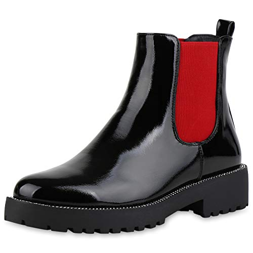 SCARPE VITA Damen Stiefeletten Chelsea Boots Lack Plateau Booties Strass Schuhe Schlupfstiefeletten Profilsohle 186223 Rot Schwarz 36