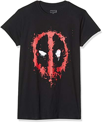 Marvel Damen Deadpool Splat Face, Schwarz (Black Blk) 40 (Herstellergröße: X-Large)-T-Shirt