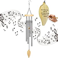 Draworld Wooden Memorial Wind Chimes with 6 Metal Tubes & Hook