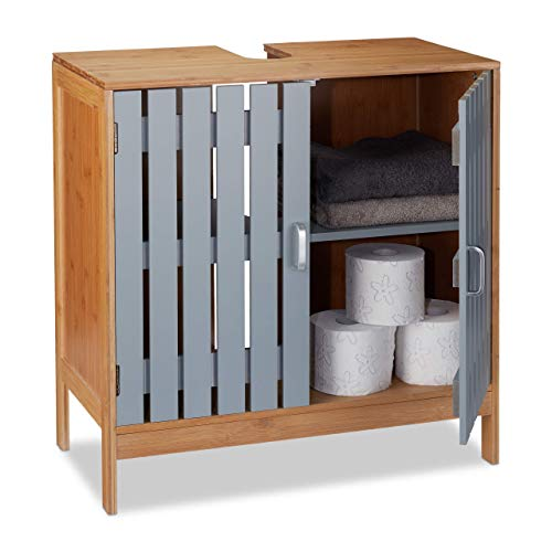 Relaxdays wastafelonderkast, sifon-uitsparing, bamboe, MDF, WC onderkast, HxBxD: 61,5 x 60 x 30 cm, natuur/grijs