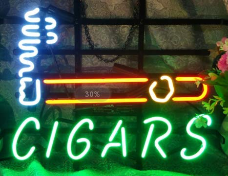 """FINEON Cigars Neon Sign 17""""×13"""" for Home Bedroom Garage Decor Wall Light, Striking Neon Sign for Bar Pub Hotel Man Cave Recreational Game Room"""