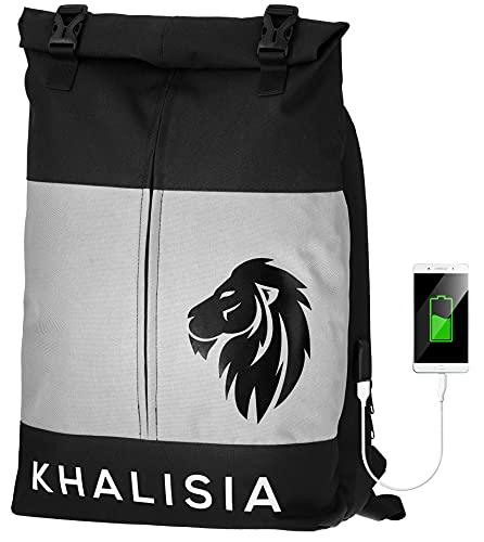 KHALISIA® Rucksack Damen & Herren | wasserdichter Rolltop Rucksack mit Laptopfach | Elegant & Diebstahlsicher| Schulrucksack | Daypack | Reiserucksack
