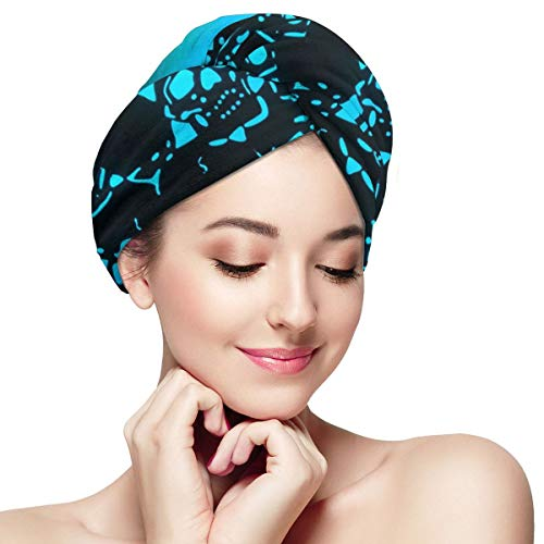 Cool Sugar Skull Bones Blue Light Microfiber Hair Towel Wraps with Button for Women Quick Dry Anti-frizz Head Turban for Long Thick Curly Hair Super Absorbent Soft Bath Cap 11 inch X 28 inch