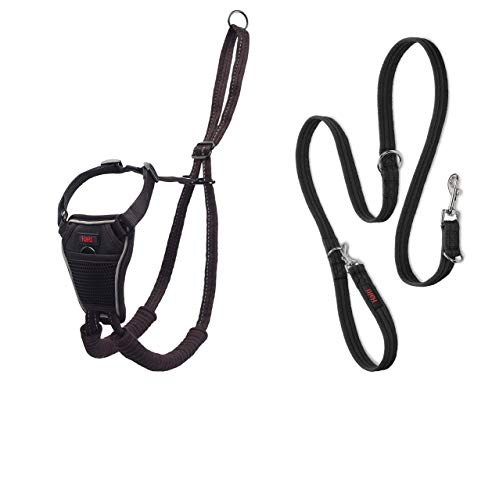 Halti No Pull Harness and Training Lead Combination Pack, Stop Dog Pulling on Walks, Includes Medium No Pull Harness and Double Ended Lead