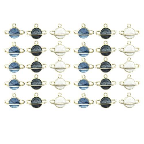 MILISTEN 60 Piezas de Colgantes de Planeta Dijes de Planeta Esmaltado Abalorios para Hacer Joyas Artesanales Accesorios para La Fabricación de Pulseras Collar Pendientes Azul...