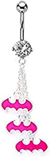 14g 7/16 Navel with 3 Pink Batman Logo Dangle Charms 316L Stainless Steel Body Piercing Jewelry