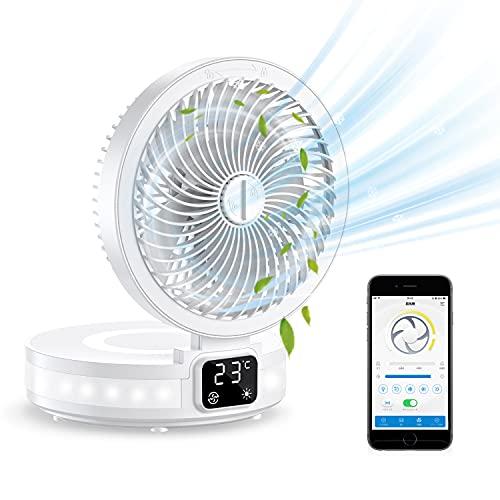 【2021最新・アプリ遠隔操作】卓上扇風機 USB充電式 携帯式 扇風機 壁掛 リビング 折り畳み アプリコントロール 卓上ファン 自動首振り 6000mAh大容量 省エネ 長時間連続使用 室内温度表示 アロマ機能 ミニ扇風機 大風量 携帯便利 軽量 4段階風量調節 静音 角度調整可能 呼吸ライト付き LED照明 熱中症対策/オフィス/ホーム/車内/料理 日本語説明書付き