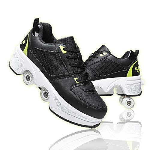 JZIYH Doble Rodillo Zapatos De Skate Zapatos Invisible De Polea De Zapatos Zapatillas De Deporte Luz Zapatos