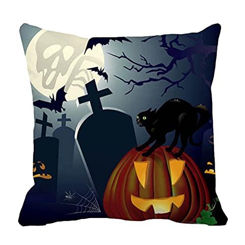 QKFON Funda de cojín impresa de dibujos animados de la almohada, fundas de almohada del lino del algodón de la decoración del hogar, fundas de almohada del sofá para el
