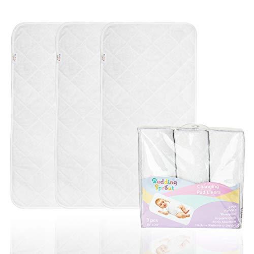 Protège-tapis à langer rembourrés très absorbants (pack de 3). De plus grande taille, hypoallergéniques et doux 38,1 x 73,7 cm (15'' x 29'') Fabriqués en rayonne de bambou 100%