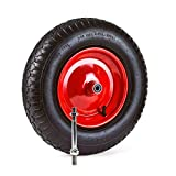 Grafner Schubkarrenrad luftbereift, 4.80/4.00-8 Ø 380mm, Stahlfelge, 120 kg Traglast, inkl. Achse, Schubkarren Ersatzrad Luft Rad Reifen