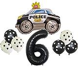 DIWULI, set de globos grandes de policía, globo de coche de policía, globo XXL número 6 negro, globos de látex, 6º cumpleaños infantil, fiesta temática, decoración, globo de aluminio, set de globos