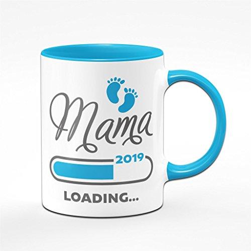 Mama Loading 2019 Tasse in blau - für werdende Mütter Schwangere - Kaffeetasse