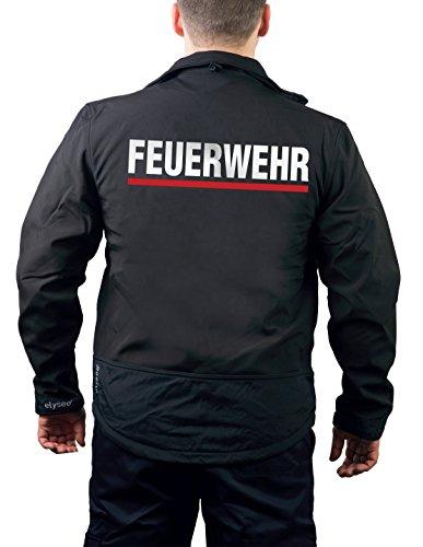 feuer1 WorkSoftshelljacke Black, BaWü mit Stauferlöwe nach VwV, Feuerwehr Silber mit rotem Streifen hinten