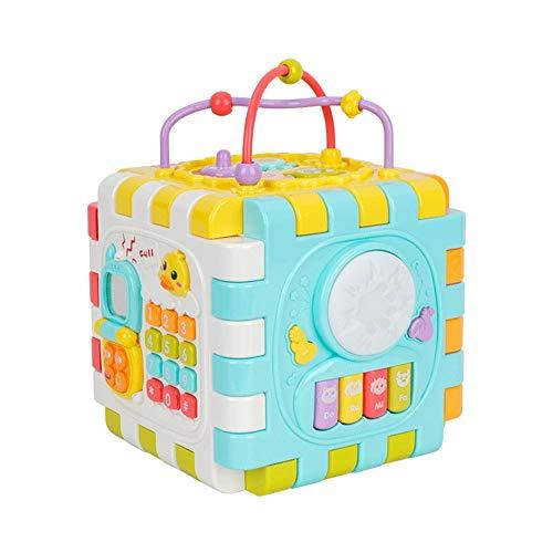 Juguetes de madera de bolas laberinto de juguete La actividad del bebé Cubo Con Engranajes, Espejo, Abacus, la gota Maze, Shape Sorter, Juego de cubos for bebés y niños pequeños enseña cognitiva y hab