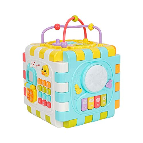 XMSIA Multifunction Bead Maze Baby Activity Cube With Gears, Abacus, Bead Maze, Shape Sorter, Play Cube for Toddlers Teaches Cognitive Motor Skills Wooden Activity Cube Toys