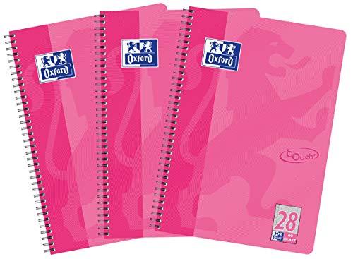 Oxford Touch - Cuaderno (A4, cuadriculado, 80 hojas, 3 unidades), color rosa