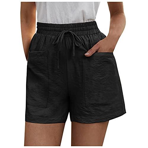 Talla Grande Pantalones Cortos Verano de Color Sólido para Mujer Pantalones Cortos con Cordón y Bolsillos Pantalones de Deporte Casual Pantalón Deportivos Ideal para Running Training Fitness