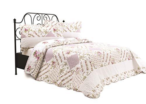 Chiara Rose 3 Piece Reversible Quilt Set Bedspread Coverlet Lightweight Comforter Full Queen FLW GRDN