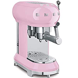 Smeg ECF01PKUK Traditional Pump Espresso Coffee Machine, Adjustable Cappuccino System, Flow Stop Function, Removable Drip-Tray, Anti-Drip System, Anti-Slip Feet, 1350 W, 1 Litre Tank, Pink