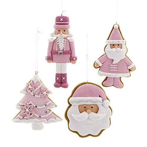 The Bridge Collection Pink Classic Christmas Claydough Ornaments, Set of 4
