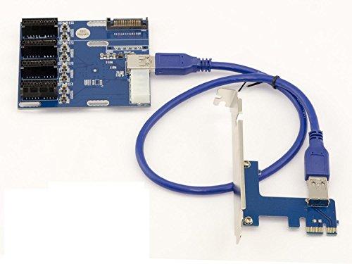 PCI-E express 1X a 4Puerto PCIe 1x Riser Interruptor Tarjeta de múltiples con USB 3.0cable