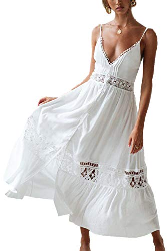 L-Peach Kaftan Vestido Largo de Playa Mujer, Blanco 7, Talla única