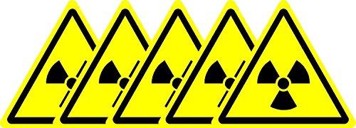 ISO-Sicherheits-Zeichen - Internationale Radioaktive Gefahrensymbol - Selbstklebende Aufkleber 50mm x 50mm (Packung mit 5 Aufkleber)