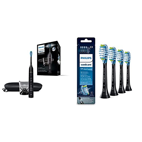 Philips Sonicare DiamondClean 9000 Elektrische Zahnbürste HX9911/09 - Schallzahnbürste mit 4 Putzprogrammen, 3 Intensitäten & Original Aufsteckbürste Premium Plaque Defence HX9044/33, 4er Pack Schwarz