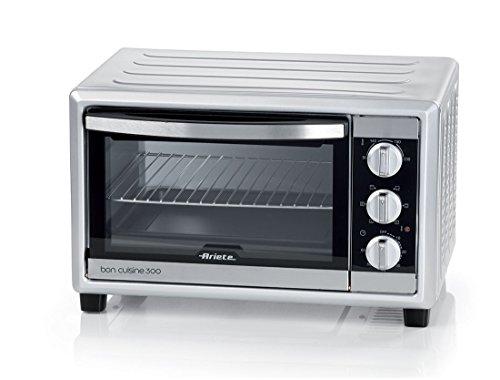 Ariete 985 Bon Cuisine 300 - Forno elettrico ventilato, Dimensioni interne: 50 x 36,5 x 33 cm, 1500W, 6 posizioni cottura, Timer 60, Argento, 30 Litri