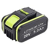 Batería de repuesto para M700 Jialitt de 5,0 Ah, para Worx de 20 V, WA3553, con indicador de carga, color verde