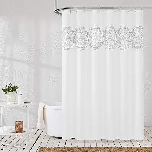 Jubilantex Grey and White Embroidered Shower Curtain Fabric for Bathroom, Farmhouse Boho Floral Rustic Chic Decorative Waterproof Bath Room Shower Curtain for Spa Hotel, 70x72 Inches, Gray