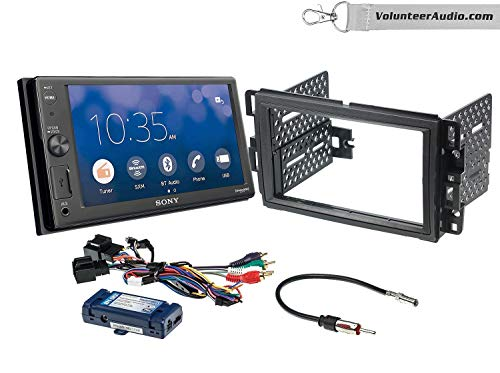 Sony XAV-AX1000 Double Din Radio Install Kit With Apple CarPlay, Sirius XM Ready, NO CD Player Fits 2007-2013 Silverado, Avalanche (Retains steering wheel controls)