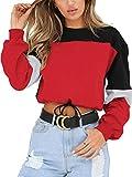 Angashion Womens Sweatshirt-Long Sleeve Drawstring Hem Color Block Crop Top Pullover Tops Red S