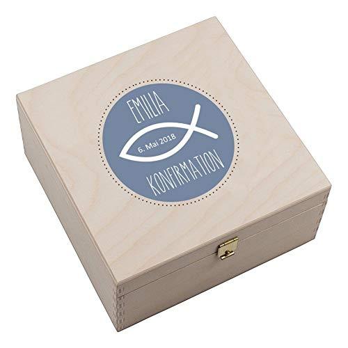 4you Design Personalisierte Hufeisen-Box Meine Konfirmation/Firmung/Kommunion (Fisch) - optional Gravur auf dem Hufeisen möglich - Geschenkidee - Hufeisen - Glücksbringer (mit Gravur)