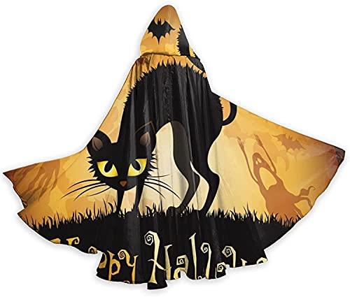 Capa con capucha para Halloween, gato negro en la luna, noche con capucha para mujeres, hombres, adultos, impresión Wi-3D, 2,5-190,5 x 71 pulgadas