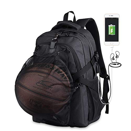 Backpack Multiple Ball Pocket Storage Mesh Carry Strap Oxford Cloth Sports Large Bag Lightweight College Laptop Compartment Best Gym Detachable Unisex,A