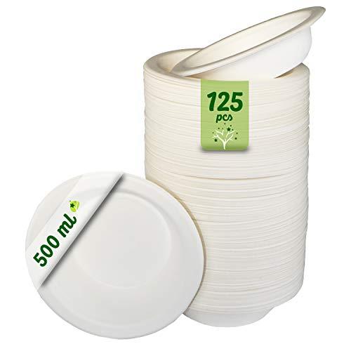 GoBeTree 125 Cuencos Desechables Biodegradable de Papel de caña de azúcar de 500 ml. Vajilla desechable extrafuertes de Color Blanco. Bowl para Fiestas y desayunos. Cuencos de bagazo.